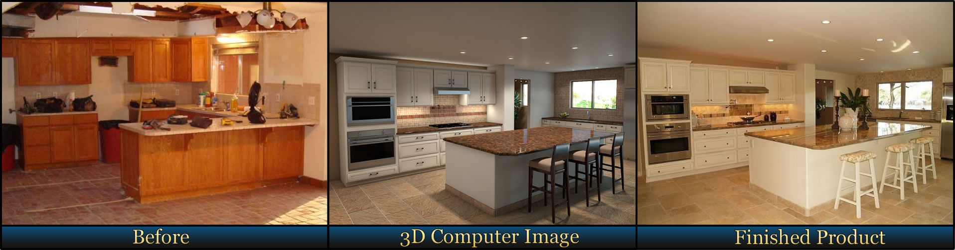 Kitchen Remodel, Before, 3d Digital Virtual View, and After Project Completion